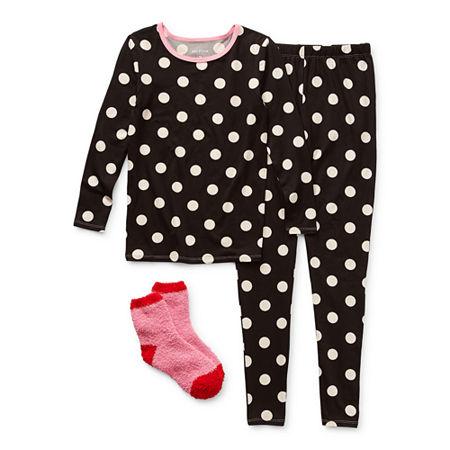 Arizona Little & Big Girls 2-pc. Pant Pajama Set, 6 , Black
