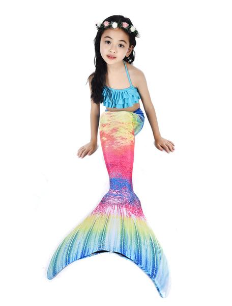 Milanoo Kids Mermaid Costume Halloween Fishtail Swimsuits 2 Piece Set