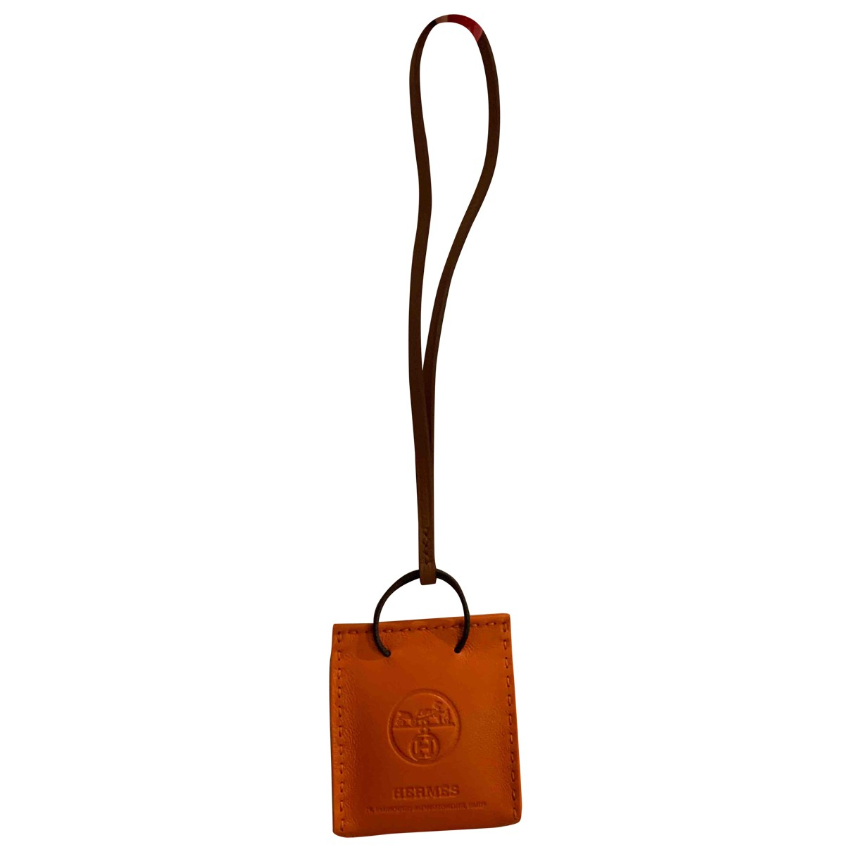 Hermès Shopping bag charm Orange Leather Bag charms for Women \N