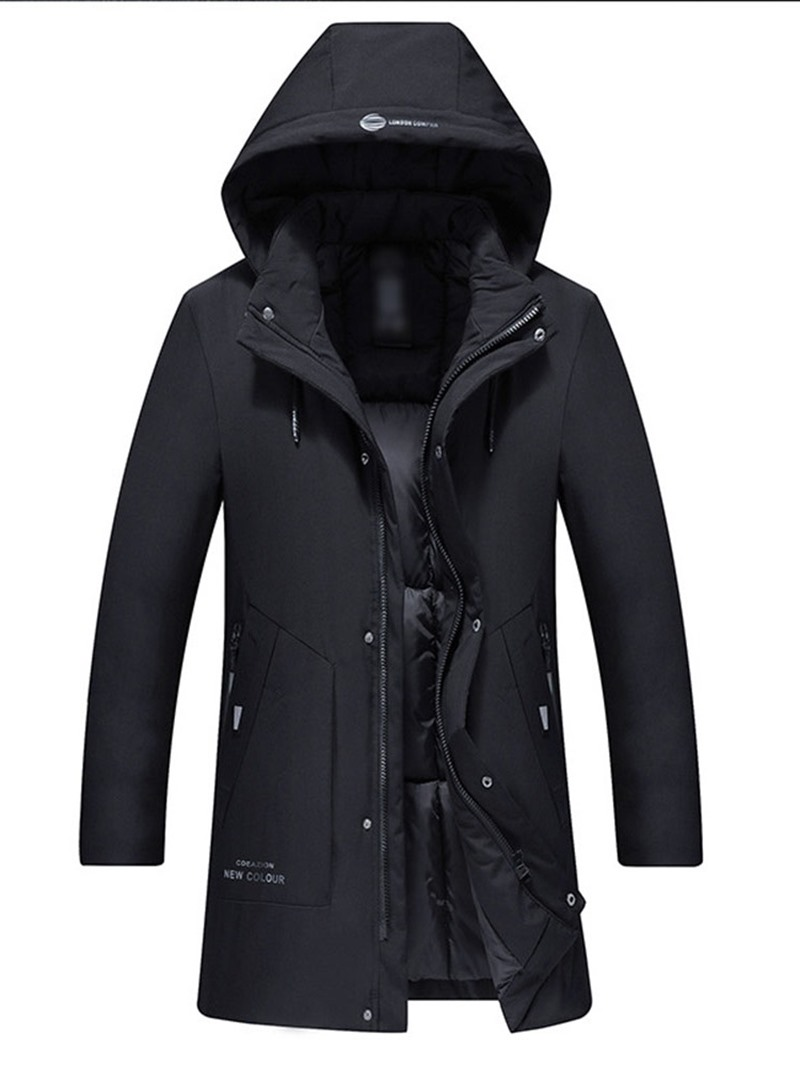 Ericdress Hooded Mid-Length Print Zipper Casual Mens Down Jacket