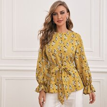 Ditsy Floral Print Flounce Sleeve Self Belted Top