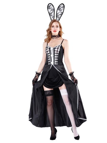 Milanoo Disfraz de conejito sexy negro para mujer Conjunto de cuatro piezas Disfraz de Halloween