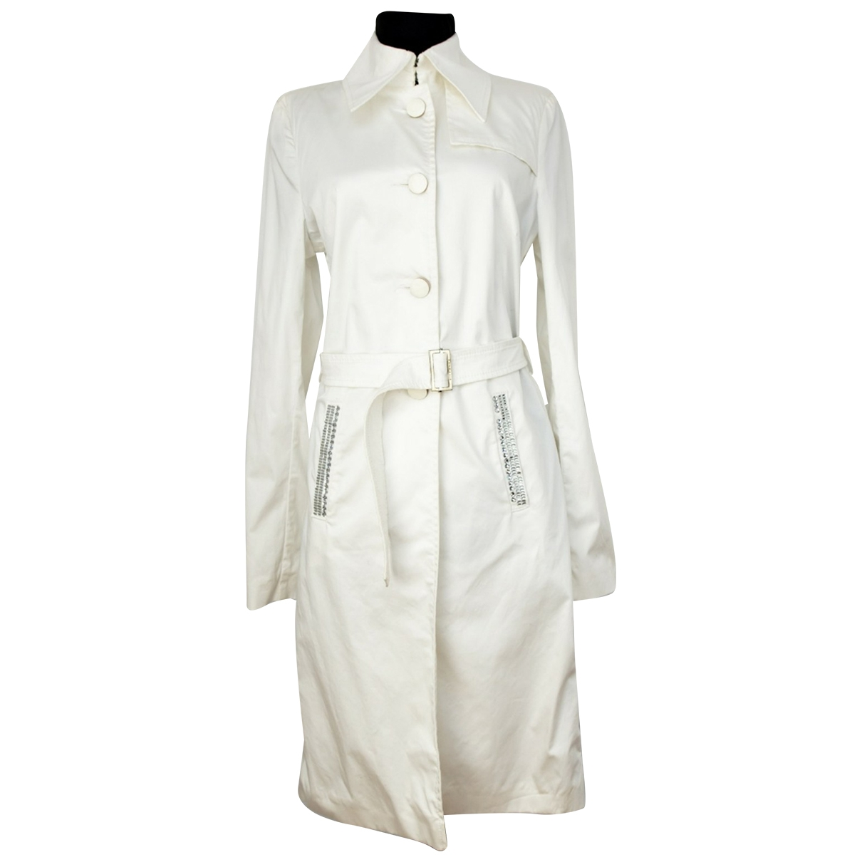 John Richmond \N White Cotton Trench coat for Women 42 IT