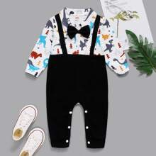 Baby Boy 2 In 1 Cartoon Graphic Bow Front Jumpsuit