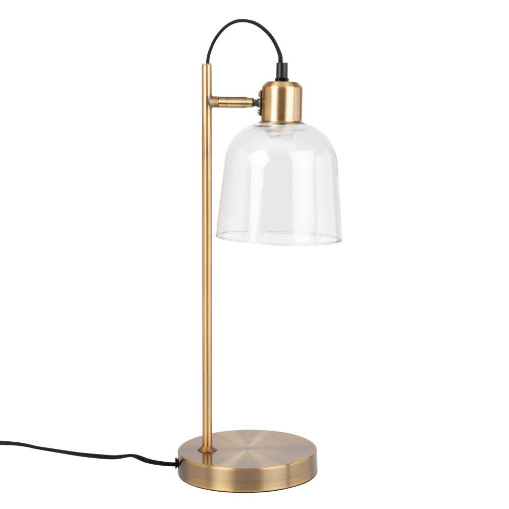Lampe mit goldfarbenem Metallgestell und Glaslampenschirm