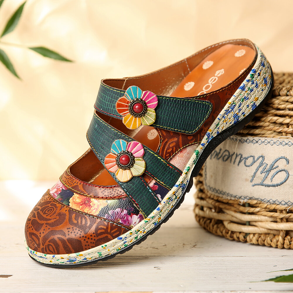 SOCOFY Vintage Handmade Leather Floral Hook Loop Strap Slip on Mules Clogs Flat Shoes