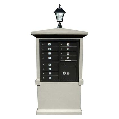 EVMC-TALL-NP-SL Estateview stucco CBU Mailbox Center  TALL pedestal (column only) in Non-Painted  with Bayview Solar