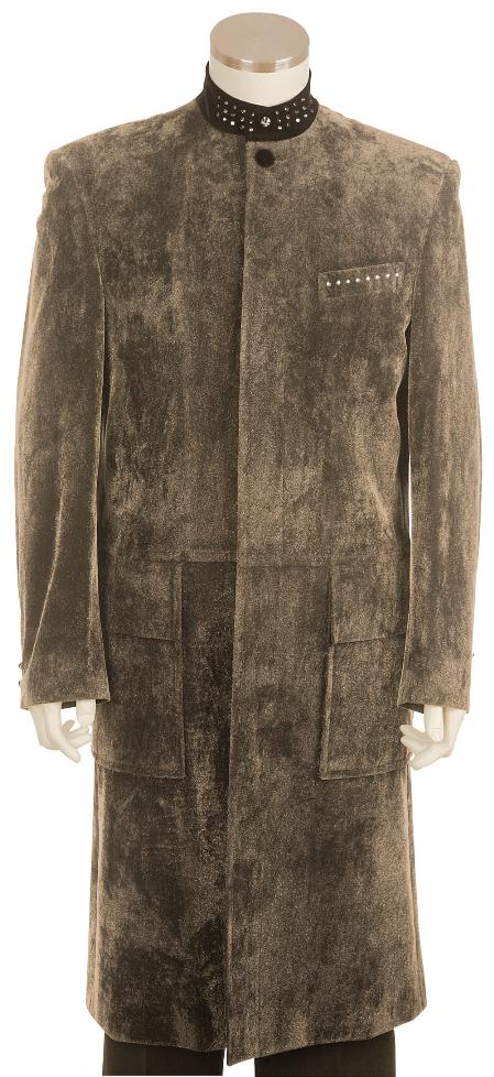 Taupe Zoot Suit 45 Inch Long Jacket Mens