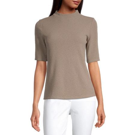 Worthington-Womens High Neck Short Sleeve T-Shirt, Xx-large , Beige