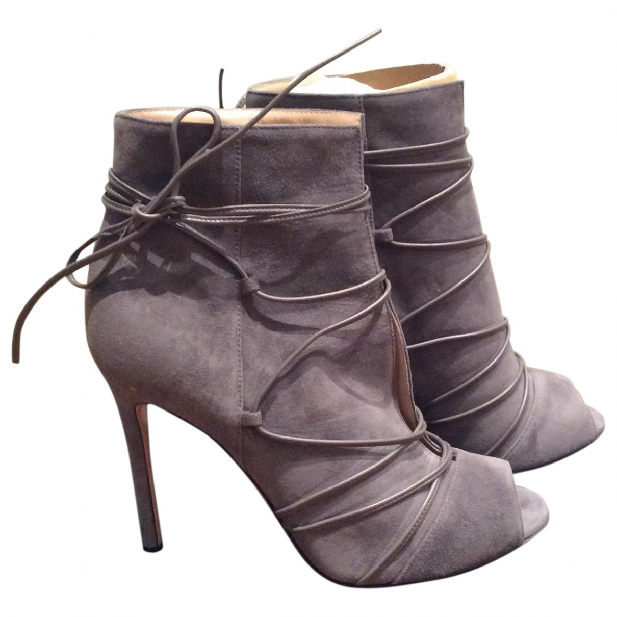 Gianvito Rossi \N Anthracite Suede Ankle boots for Women 38.5 EU