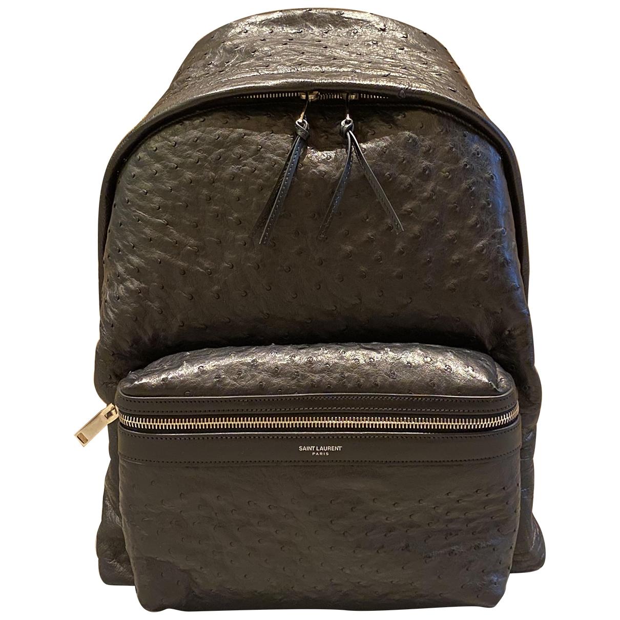 Saint Laurent City Backpack Black Ostrich bag for Men \N