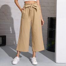 Paperbag Waist Belted Wide Leg Pants