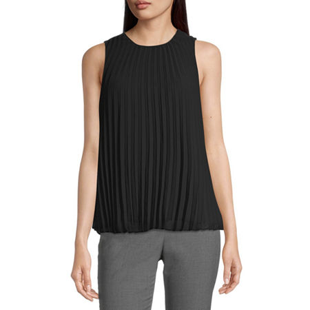 Worthington Womens Pleated Tank, X-small , Black