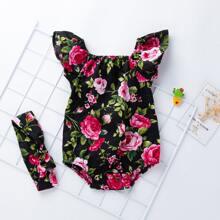 Baby Girl Floral Print Bodysuit & Headband
