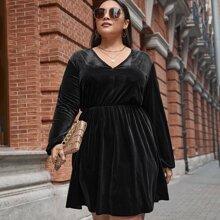 Plus Velvet V-neck A-line Dress