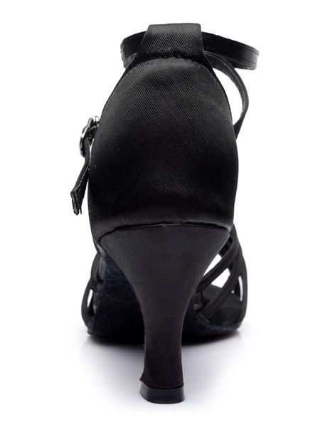 Milanoo Black Latin Dance Sandals Satin Cut Out Straps Ballroom Shoes