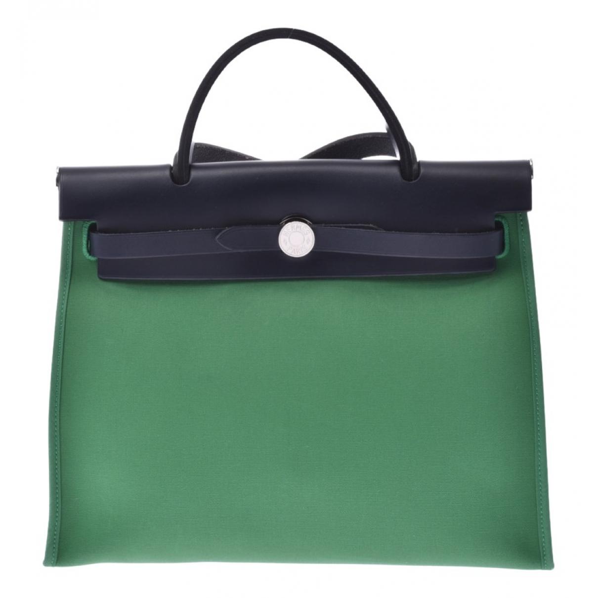 Hermes - Sac a main Herbag pour femme en toile - vert