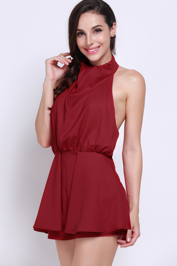 Yoins Red Backless Sleeveless Halter Playsuit