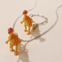 1 pieza brazalete de niñitas con dinosaurio con 1 pieza collar