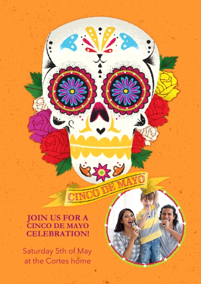 Father's Day 5x7 Cards, Premium Cardstock 120lb with Scalloped Corners, Card & Stationery -Skull Cinco De Mayo