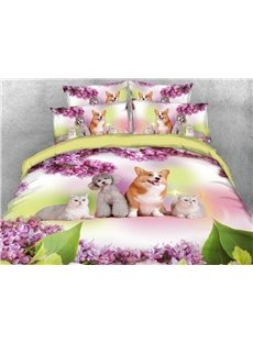 Dogs and Cats Duvet Cover Set 3D Printed 4-Piece Animal Bedding Sets