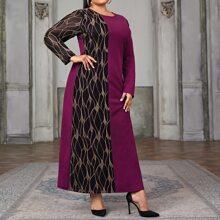 Tunika Kleid mit Kontrast Netzstoff und Farbblock