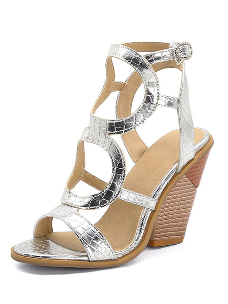 Milanoo Womens Silver Wedge Sandals Special-Shaped Platform Heels Open Toe Plus Size Shoes