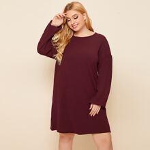 Rippenstrick T-Shirt Kleid mit sehr tief angesetzter Schulterpartie