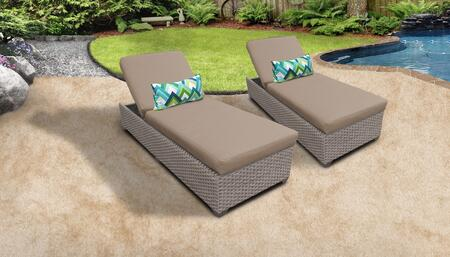Florence Collection FLORENCE-2x-WHEAT Set of 2 Chaises - Grey and Wheat