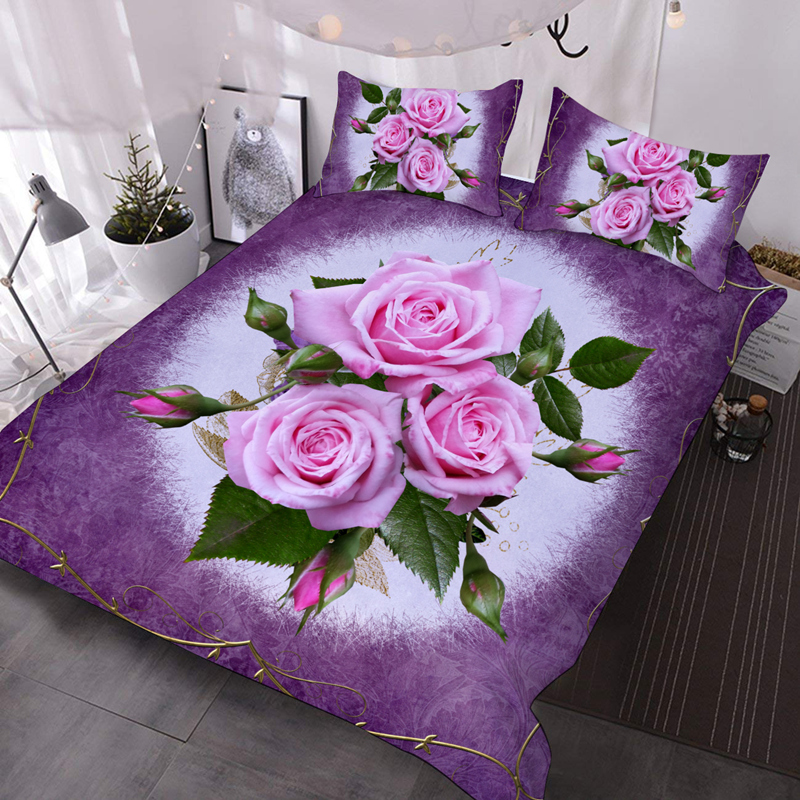 Purple Roses 3Pcs 3D Bedding Down Comforter Insert with 2 Pillow Covers Microfiber Wrinkle/Fade Resistant Comforter