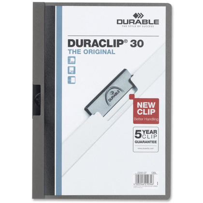 DURABLE Duraclip@ Report Cover, 1 cover per pack - Graphite, 30-sheet Capacity