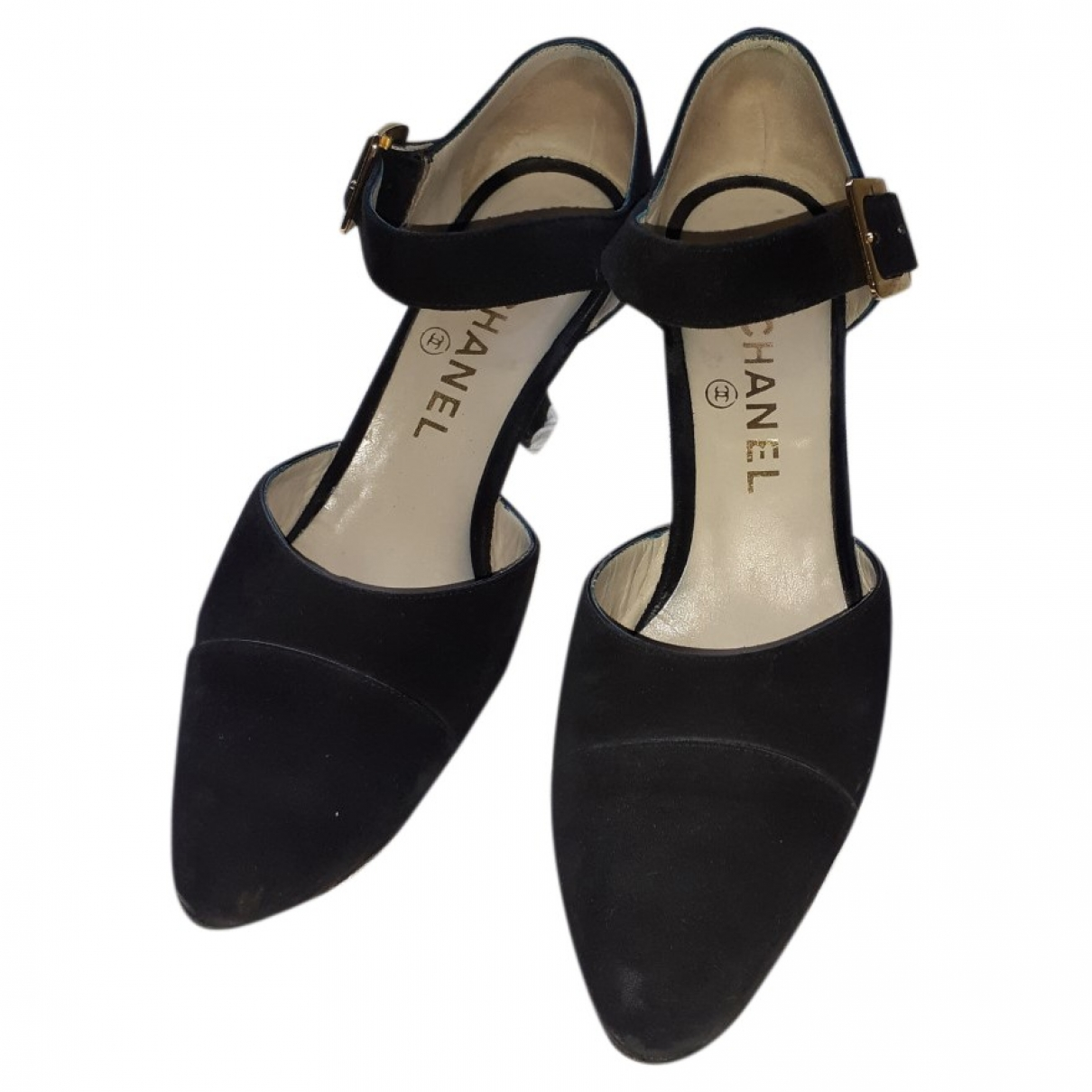 Chanel - Escarpins   pour femme en velours - noir