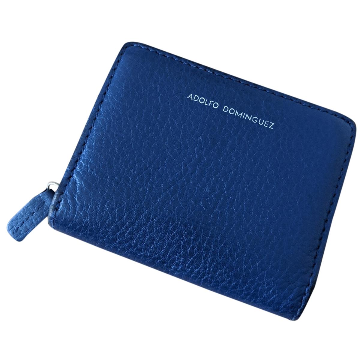 Adolfo Dominguez - Portefeuille   pour femme en cuir - bleu