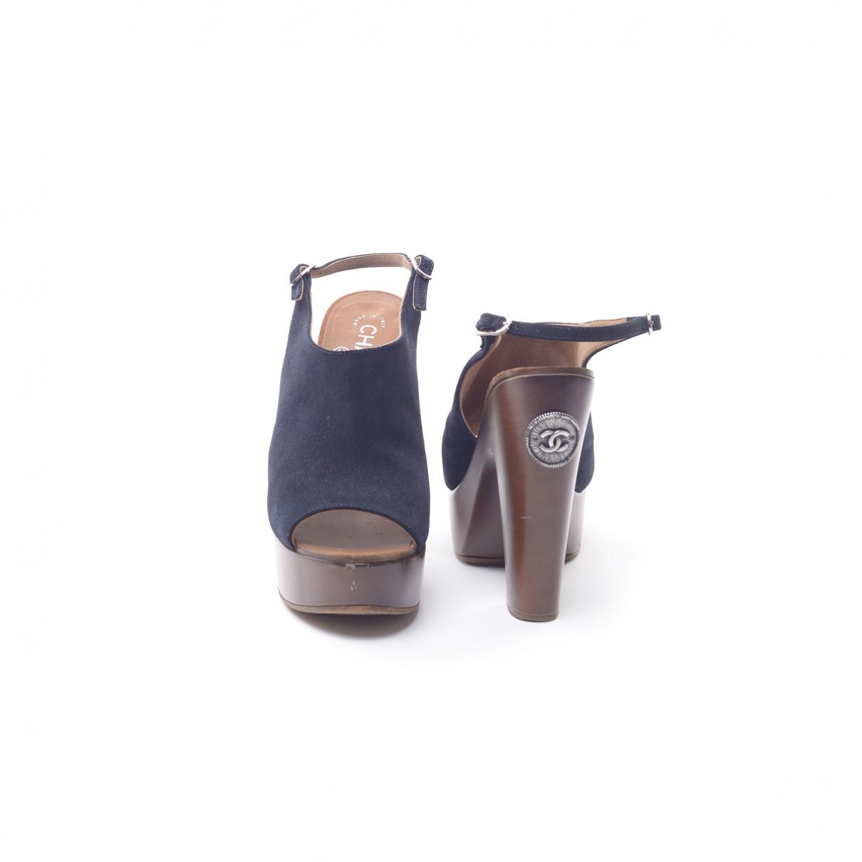Chanel - Sandales   pour femme en toile - marine