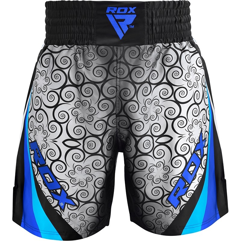 RDX BSS Boxing Training Shorts Polyester Medium Blue/Black/Grey