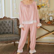 Contrast Lace Trim Tie Neck Pajama Set