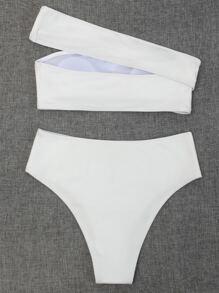 Rib Cut-out One Shoulder Bikini Swimsuit