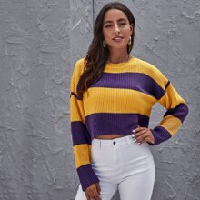 Colorblock Drop Shoulder Crop Sweater