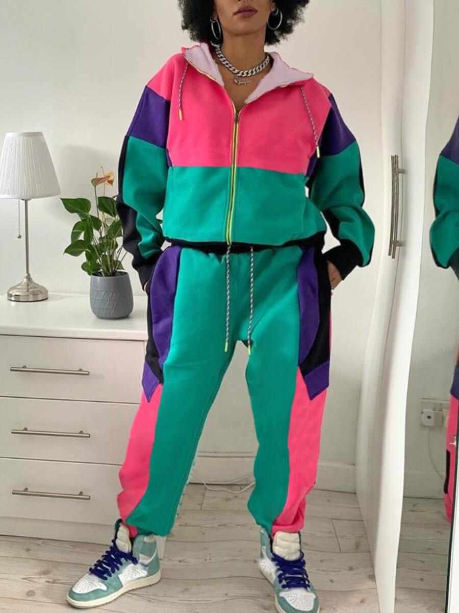 LW Lovely Sportswear Hooded Collar Color-lump Patchwork Green Two Piece Pants Set