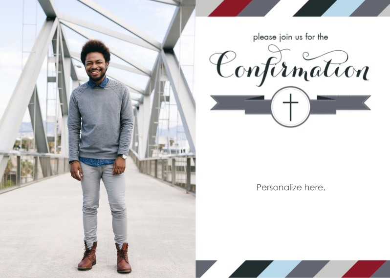 Confirmation 5x7 Cards, Premium Cardstock 120lb with Scalloped Corners, Card & Stationery -Multi Stripe Banner Boy