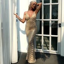 Zip Back Mermaid Hem Sequin Prom Dress