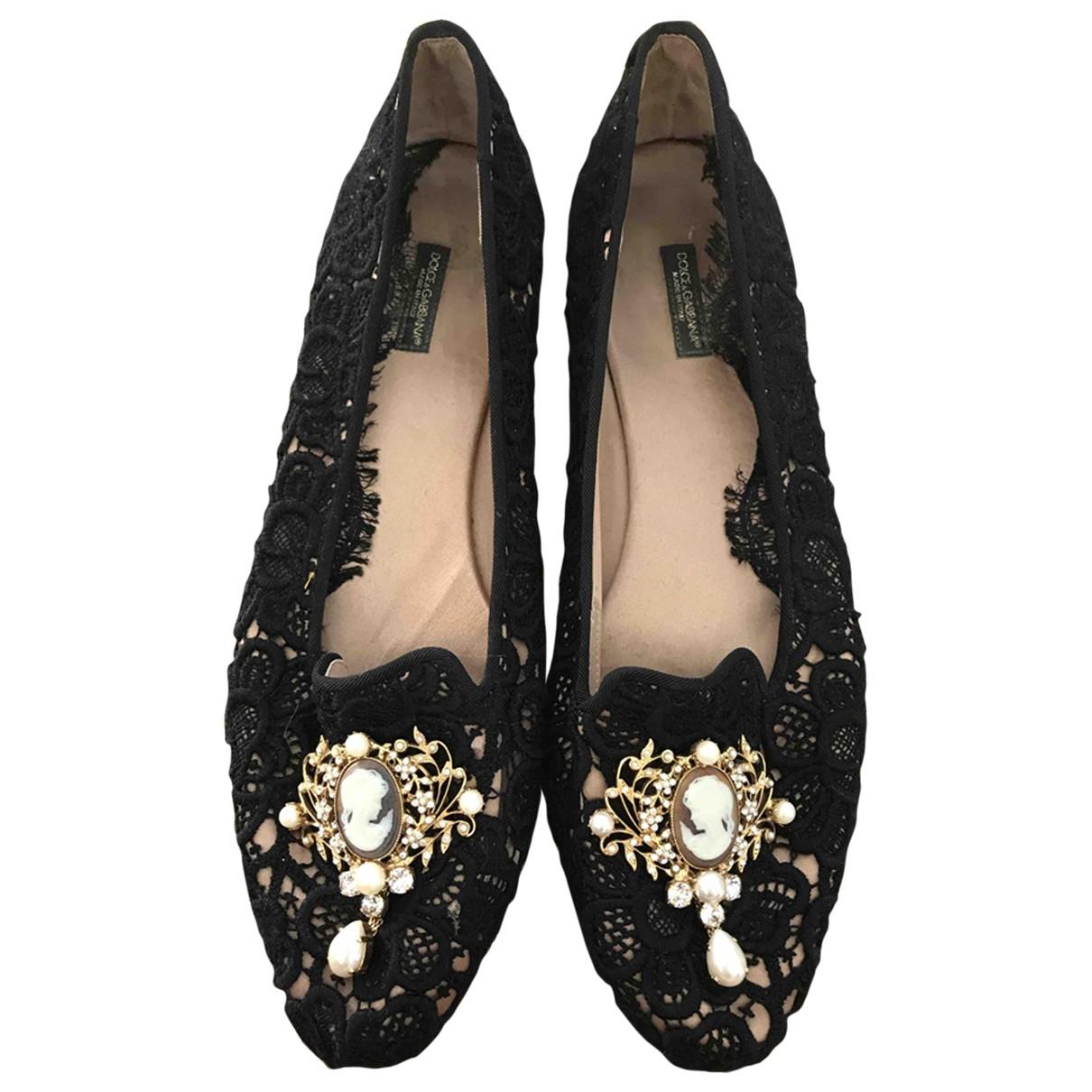 Dolce & Gabbana - Ballerines   pour femme en toile - noir