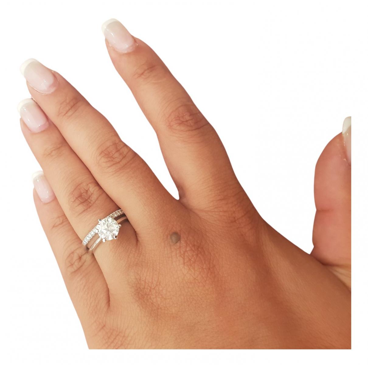 - Bague Solitaire pour femme en or blanc - argente