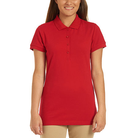 IZOD Womens Short Sleeve Stretch Pique Knit Polo Shirt Juniors, X-large , Red
