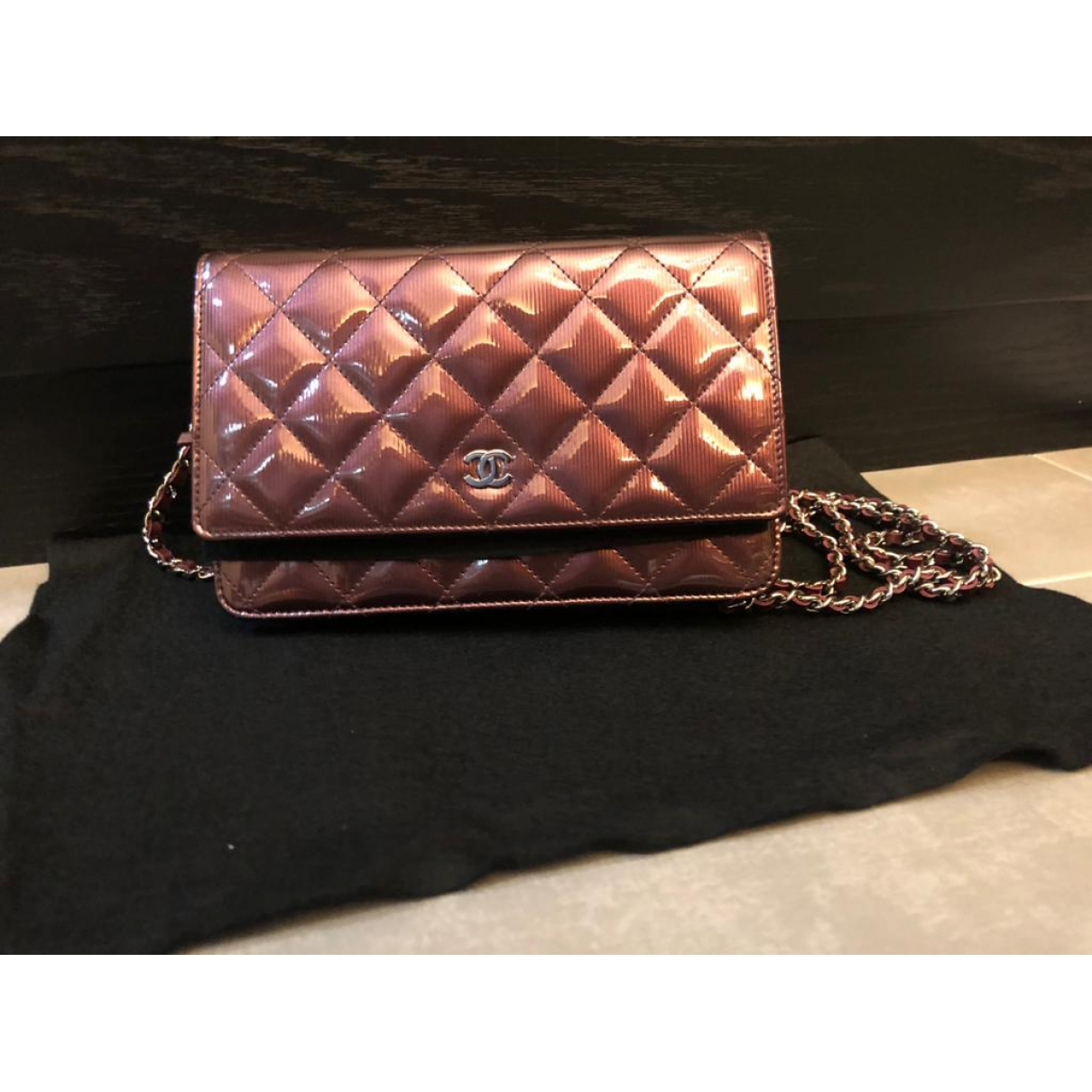 Chanel Wallet on Chain Burgundy Patent leather handbag for Women \N
