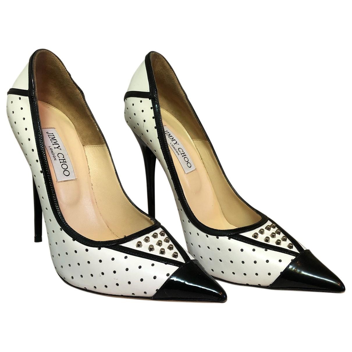 Jimmy Choo Anouk White Leather Heels for Women 39 EU