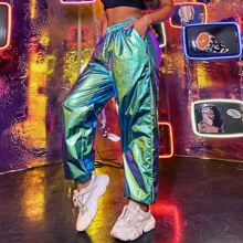 Pantalones de color metalico holograficos de cintura elastica