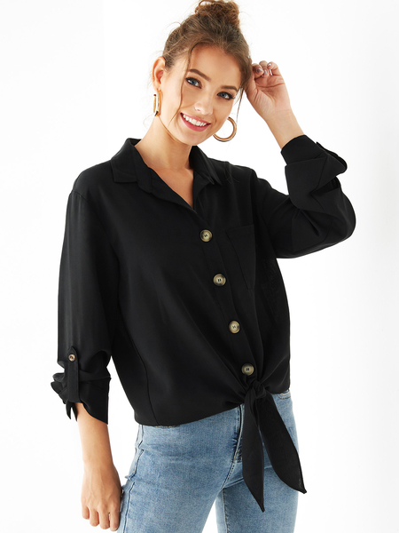 YOINS Black Classic Collar Front Button Tie-up Blouse