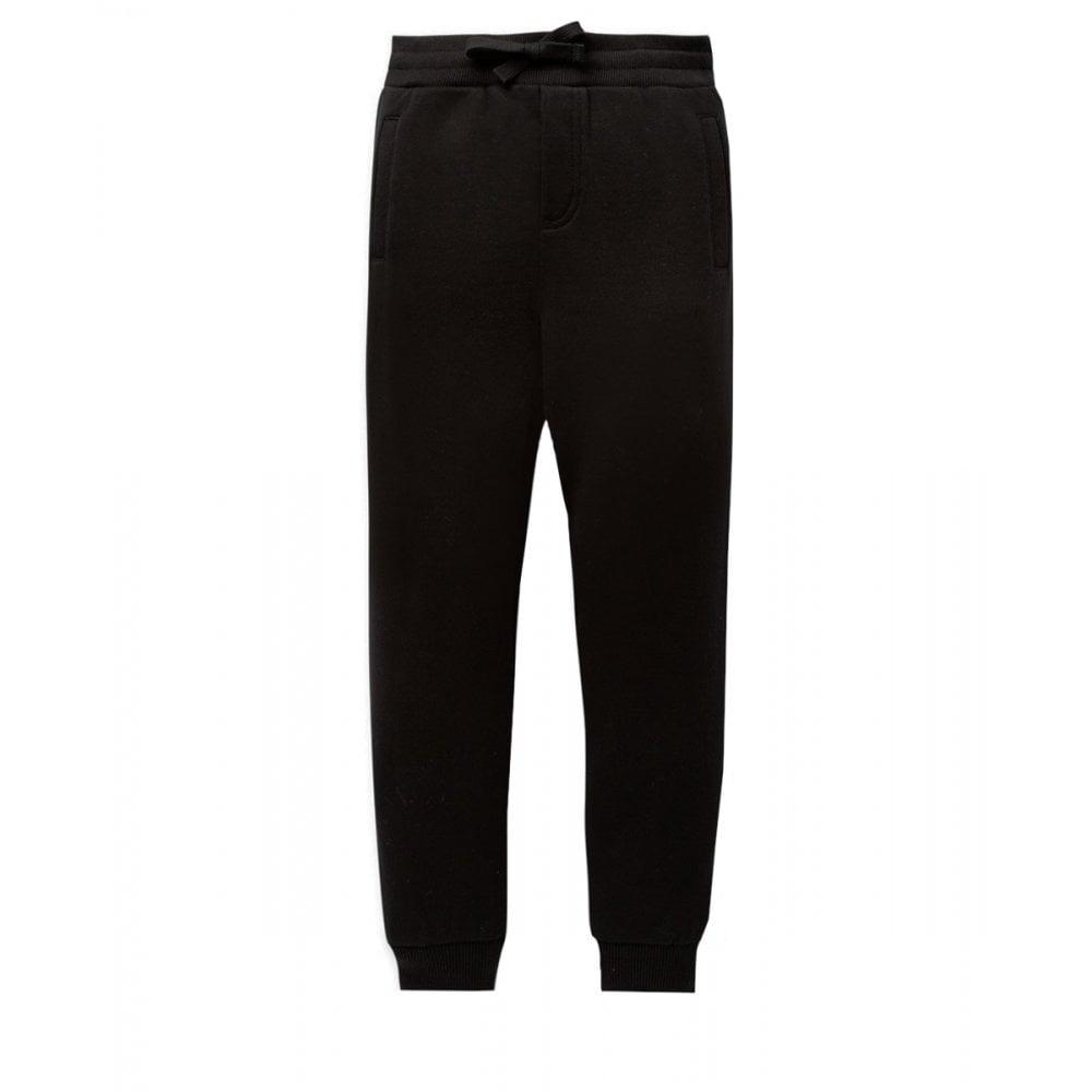 Dolce & Gabbana Cotton Joggers Colour: BLACK, Size: 12 YEARS