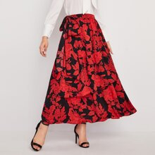 Floral Print Self Tie Chiffon Layered Skirt